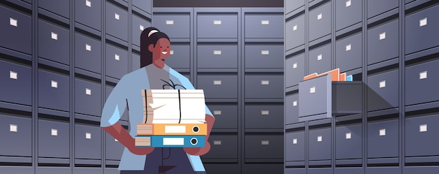 Businesswoman holding cardboard box with documents in filing wall cabinet with open drawer data archive storage business administration concept horizontal portrait vector illustration