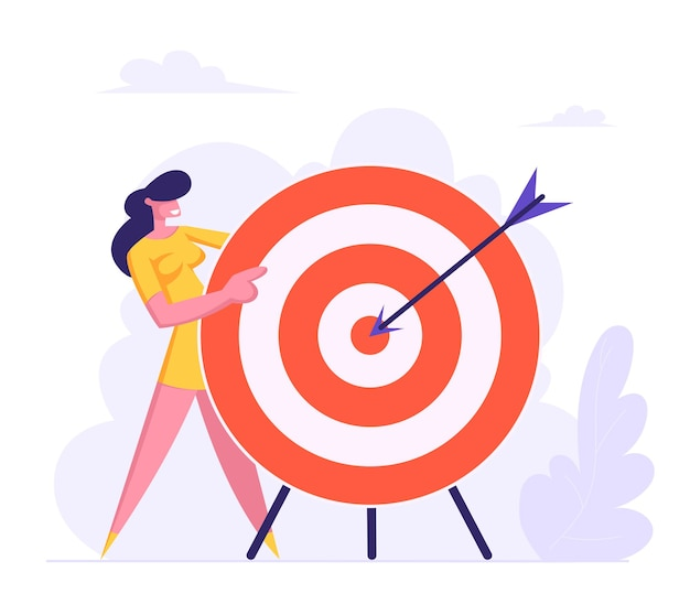 Businesswoman holding huge target with arrow in center flat illustration