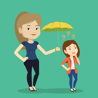 Businesswoman holding umbrella over woman.