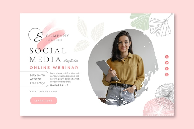Businesswoman horizontal banner template