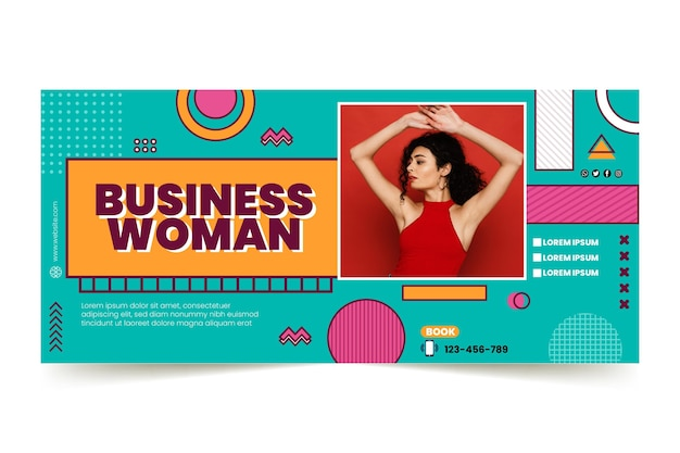 Modello di banner orizzontale per donna d'affari