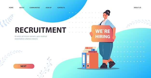 Businesswoman hr manager holding we are hiring poster vacancy open recruitment human resources employment concept full length horizontal copy space vector illustration