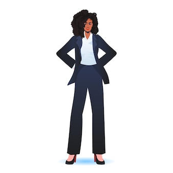 공식적인 마모 성공적인 비즈니스 여자 서있는 사업가 리더십 개념 포즈