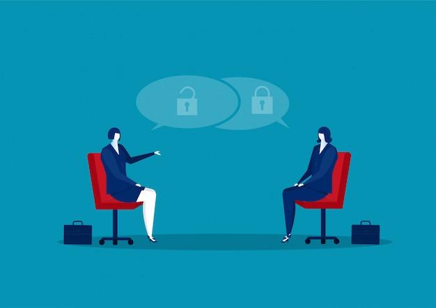 Businesswoman interview about test mindset ,idea, attitude for hire concept vector illustrator