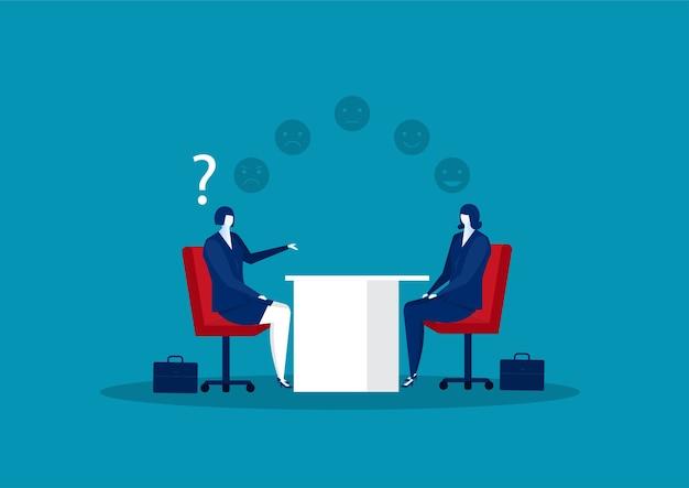 Businesswoman interview about test mindset ,idea, attitude for hire concept