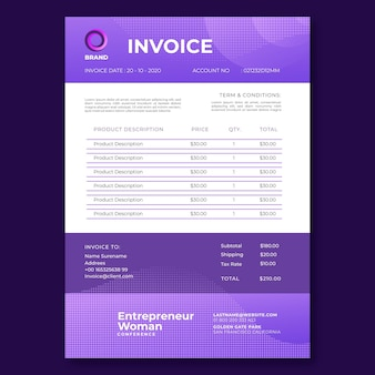 Businesswoman invoice template