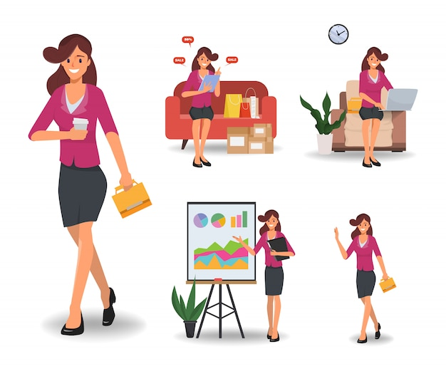 Businesswoman in job and lifestyle daily routine character set.