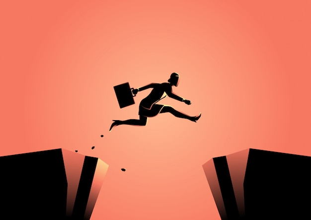 Businesswoman jumps over the ravine