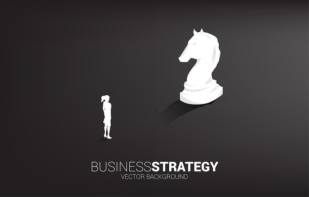 Businesswoman and knight chess piece 3d silhouette vector
