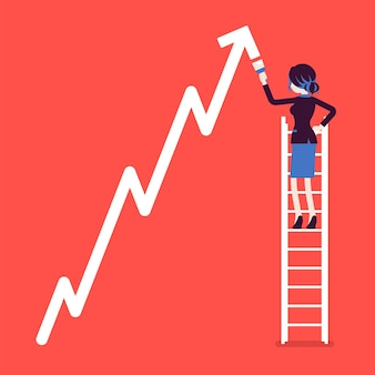 Businesswoman on ladder drawing positive dynamics climbing arrow. successful manager showing sale progress, optimistic right direction, business profit growth.