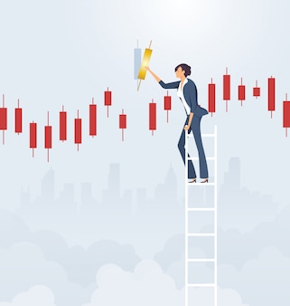 Businesswoman on ladder with candlestick chart