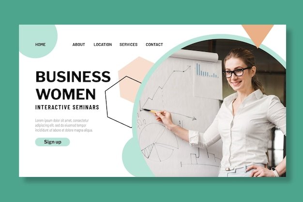 Businesswoman landing page design template