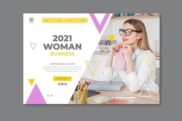 Modello di pagina di destinazione della donna di affari