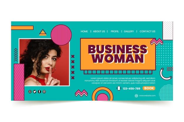 Modello di pagina di destinazione per donna d'affari