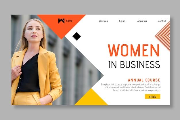 Pagina di destinazione della donna di affari