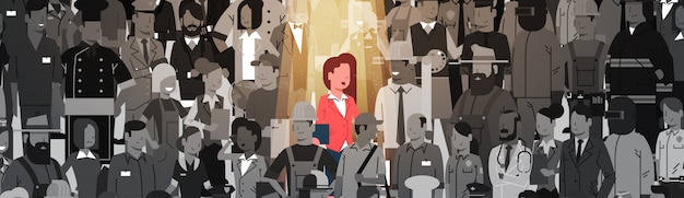 Businesswoman leader stand out from crowd individual, spotlight hire human resource recruitment candidate people group business team concept