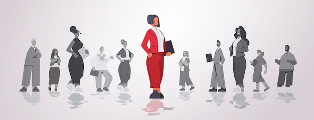 Businesswoman leader standing in front of businesspeople group leadership business competition concept horizontal   illustration