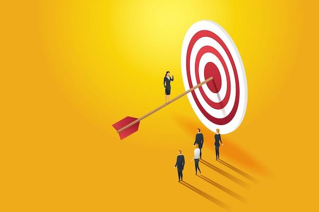 目標を達成するために成功したチームを率いる実業家のリーダー
