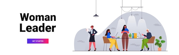 Businesswoman leader working with businesspeople team teamwork concept modern office interior horizontal full length vector illustration