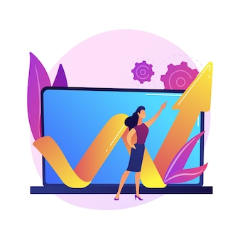 Businesswoman leadership and growth concept, with laptop and arrow illustration