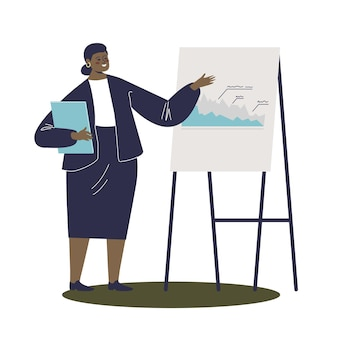 Деловая женщина, ведущая бизнес-презентацию, объясняющая продажи иллюстрации