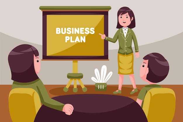 Businesswoman leading meeting at boardroom table.