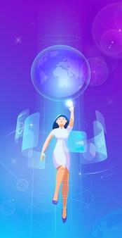 Деловая женщина, летящая в воздухе и управляющая интерфейсом в футуристическом интерьере пространства виртуальной реальности