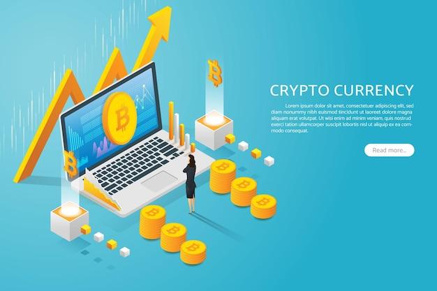 ノートパソコンの画面でビットコイン通貨を見ている実業家暗号通貨上昇グラフ