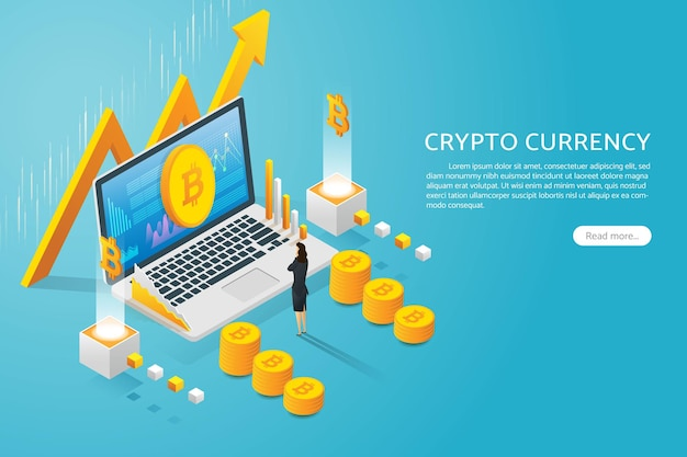 Businesswoman looking at bitcoin currency on laptop screen cryptocurrency rising graph