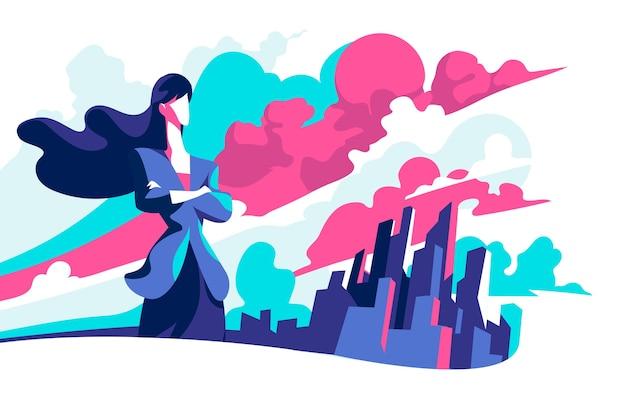Деловая женщина смотрит в будущее за новыми возможностями для бизнеса