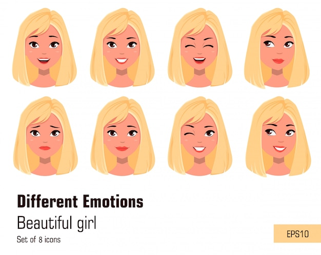 Businesswoman making different face gestures