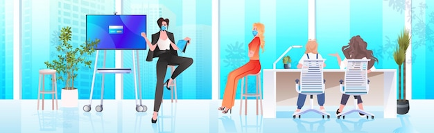 Businesswoman in mask discussing with businesspeople team during conference meeting in office coronavirus pandemic concept horizontal