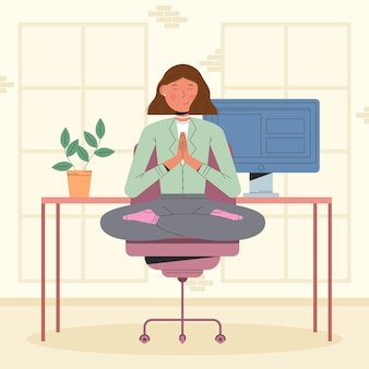 Businesswoman meditating flat illustration