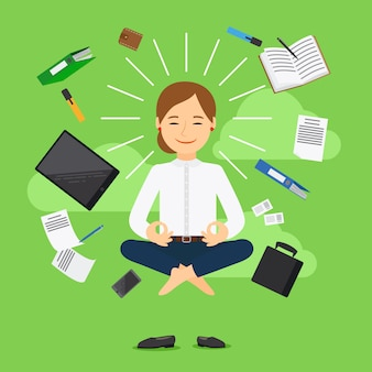 Businesswoman in meditating position on green background