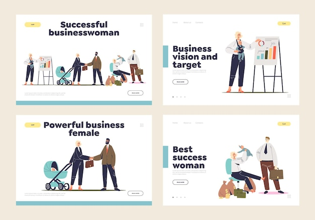 Businesswoman mother concept of set of landing page templates with cartoon business lady working with newborn child. career or motherhood choice.