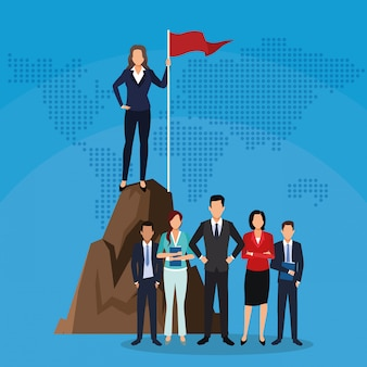 Businesswoman on mountain with flag and people team success start up business