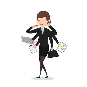 Businesswoman do multitasking work