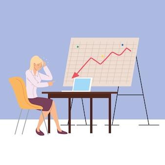 Businesswoman in office in financial crisis, economic problem illustration design