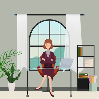 Businesswoman in office room interior design. hand drawn character poeple. office workplace.