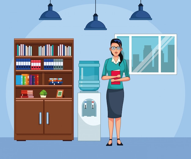 Businesswoman at office scenery, colorful design