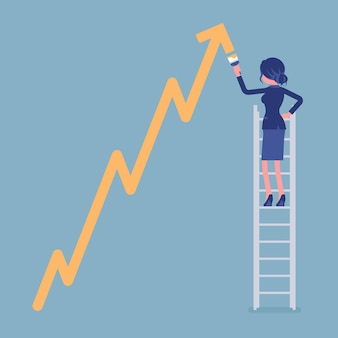 はしごの上の女性が正のダイナミクス登山矢印を描画します。販売の進捗状況、楽観的な正しい方向性、ビジネス利益の成長を示す成功したマネージャー。ベクトルイラスト、顔のない文字