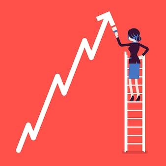 はしごの上の女性が正のダイナミクス登山矢印を描きます。販売の進捗状況、楽観的な正しい方向性、ビジネスの利益成長を示す成功したマネージャー。