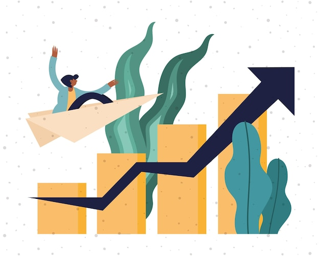 Businesswoman on paperplane with bars chart and increase arrow design, business and management theme  illustration