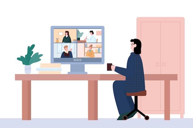 Предприниматель участвует в онлайн-видеоконференции через интернет-технологии