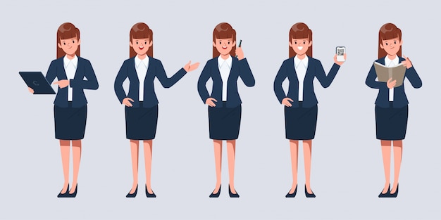 Businesswoman pose set in job occupation office character.