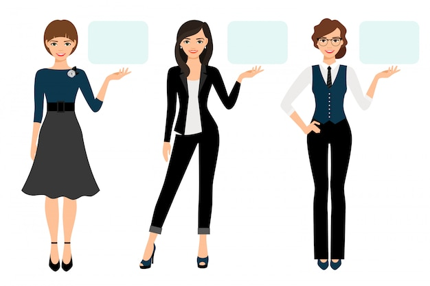 Businesswoman presentation vector illustration. adult woman business presenting isolated