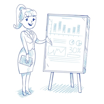 Businesswoman presenting business company development charts