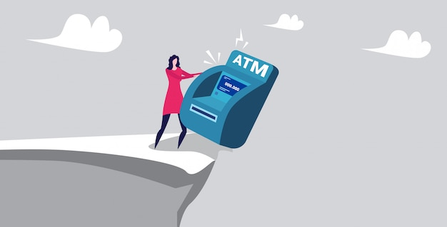 Businesswoman pushing atm machine into abyss financial crisis failure bankruptcy concept horizontal full length