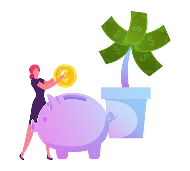 Деловая женщина положила золотую монету в копилку возле огромного денежного дерева в горшке с долларами. мультфильм плоский иллюстрация