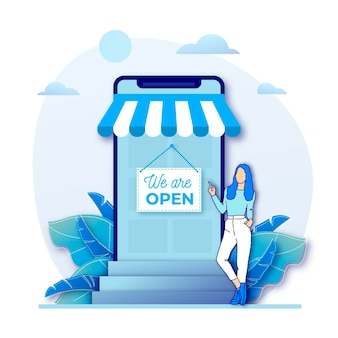 Businesswoman and re-opened shop